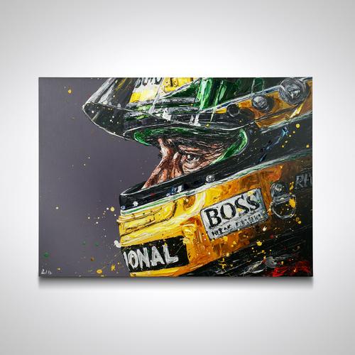 Photo of Ayrton Senna Profile Hand Embellished Canvas - Paul Oz