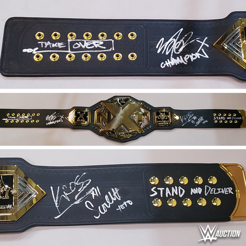 Finn Balor, Karrion Kross, and Scarlett SIGNED NXT Championship Replica Title. (Stand and Deliver Face Off)
