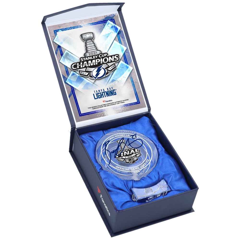 Brayden Point Tampa Bay Lightning Autographed 2021 Stanley Cup Champions Crystal Puck - Filled with Ice from the 2021 Stanley Cup Final