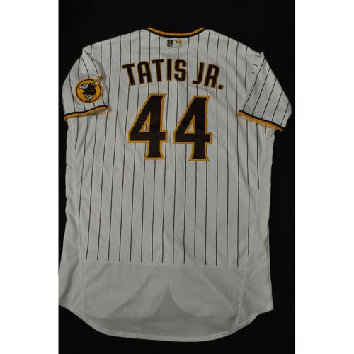 Photo of Hank Aaron Chasing the Dream Foundation: Fernando Tatis Jr. 2021 MLB All-Star Workout Day BP-Worn # 44 Jersey