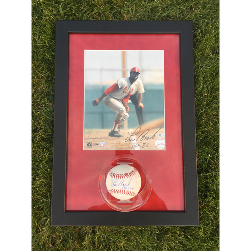 Cardinals Authentics: Lou Brock Autographed Photo and Ball Frame