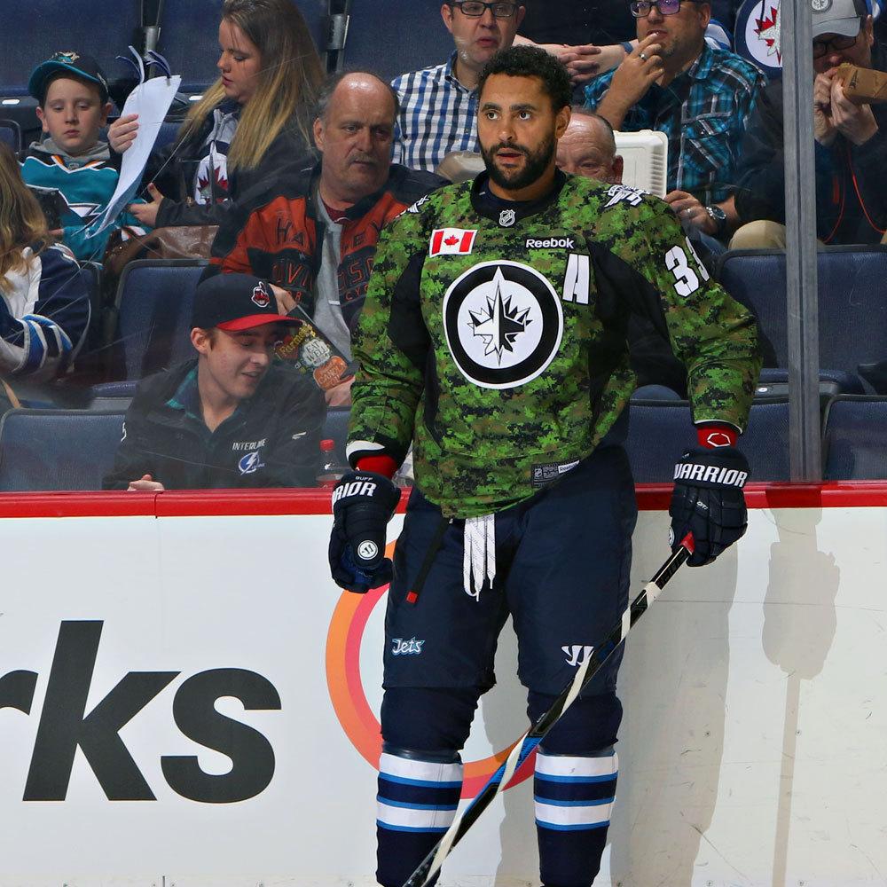 Dustin Byfuglien Winnipeg Jets Warm Up Worn Canadian Armed Forces jersey