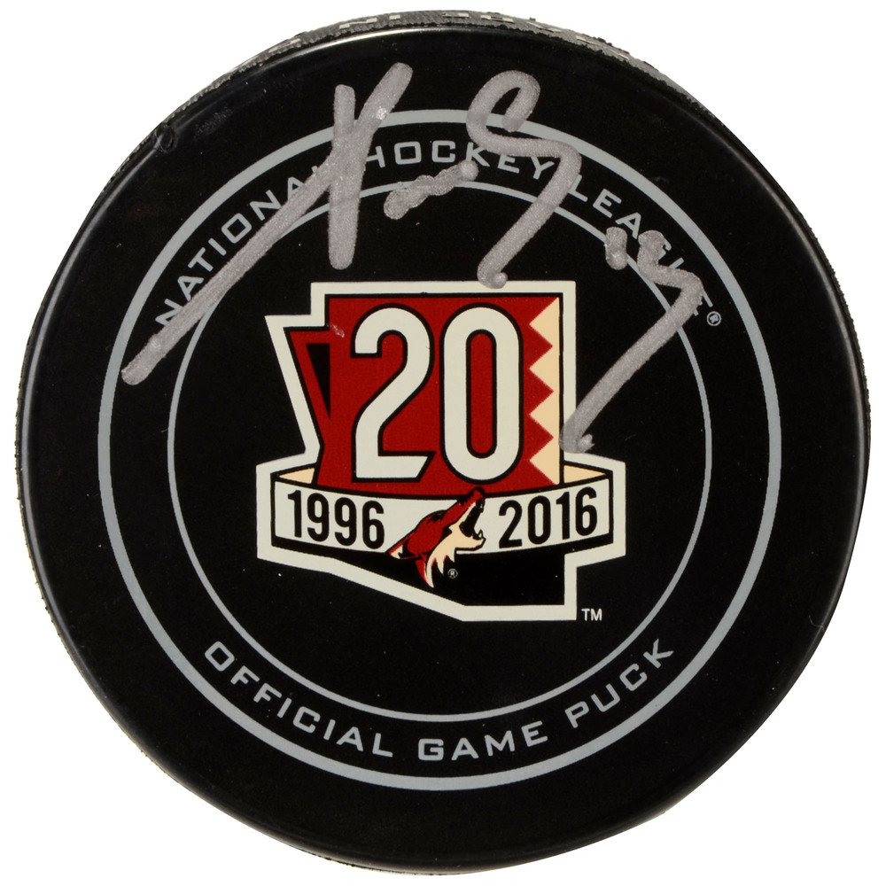 Pavel Datsyuk Arizona Coyotes Autographed 20th Anniversary Season Official Game Puck