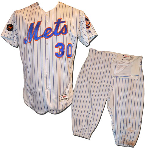 Photo of Michael Conforto #30 - Game Used White Pinstripe Uniform - Conforto Goes 4-4, 2 RBI - Mets vs. Diamondbacks - 5/18/18
