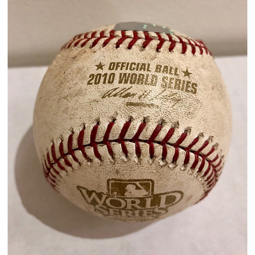 Photo of Game-Used Baseball: 2010 World Series Game 3 - San Francisco Giants at Texas Rangers - Batter: Michael Young, Pitcher: Jonathan Sanchez - Bottom of 5,  Ground out for Double Play