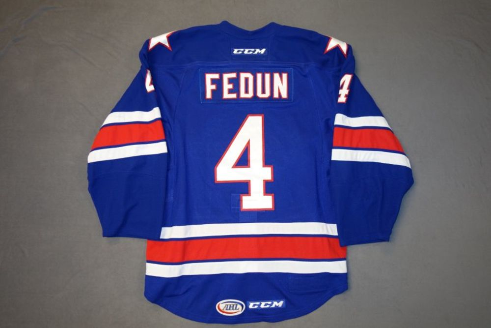 Taylor Fedun Game-Worn Rochester Americans Blue Jersey