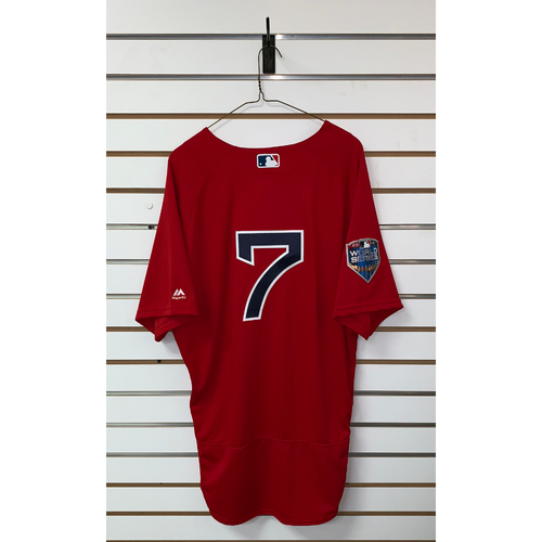 Photo of Christian Vazquez Team Issued 2018 World Series Home Alternate Jersey