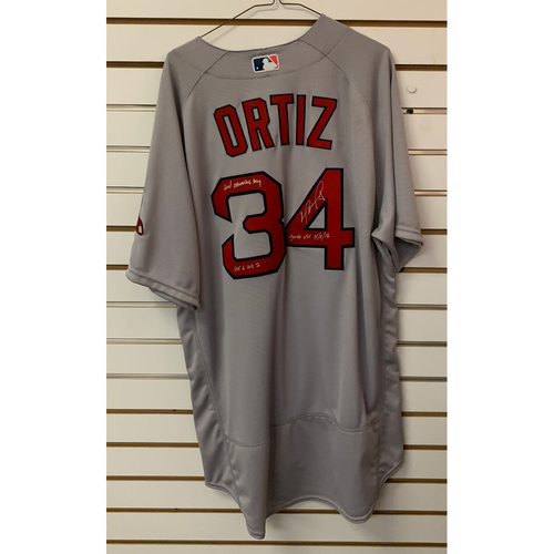 Photo of David Ortiz Autographed, Game Used April 5, 2016 Opening Day Road Jersey - 1st through 3rd innings