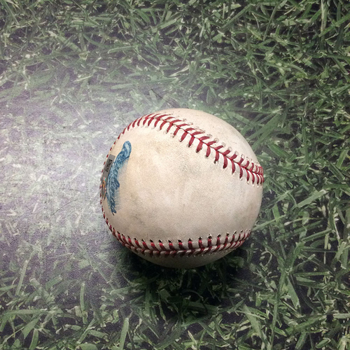 Photo of Game-Used Baseball ATL@MIL 07/06/18 - Freddy Peralta - Ronald Acuna: Strikeout