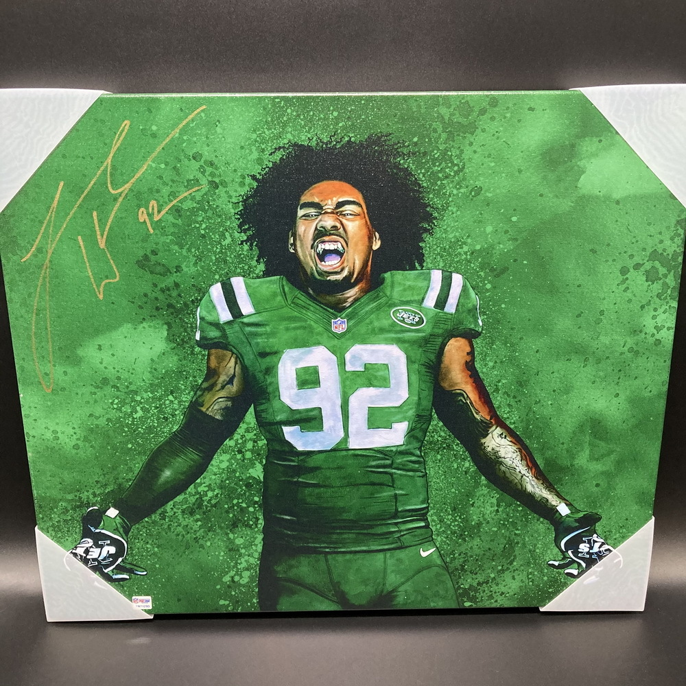 Jets - Leonard Williams Signed Canvas Print