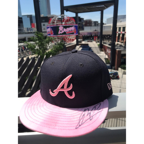 Photo of Cristian Pache Autographed MLB New Era Pink Cap