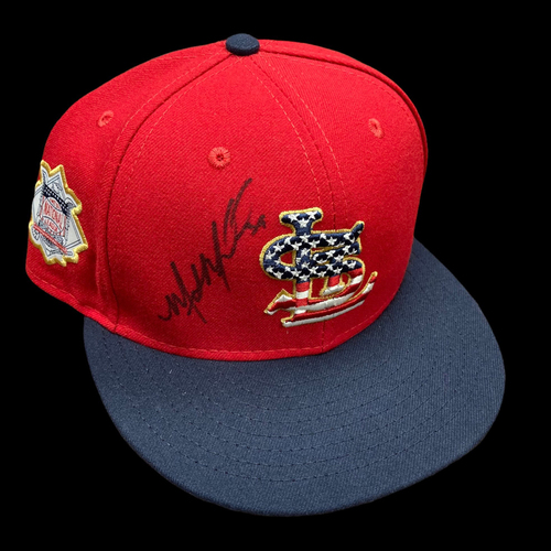 Photo of Miles Mikolas Autographed Team Issued Stars and Stripes Cap (Size 7 1/8)