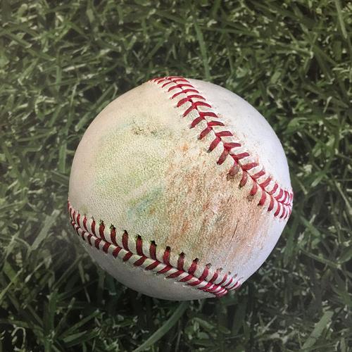Photo of Game-Used Baseball CHC@MIL 04/14/21 - Josh Lindblom - Anthony Rizzo: Double