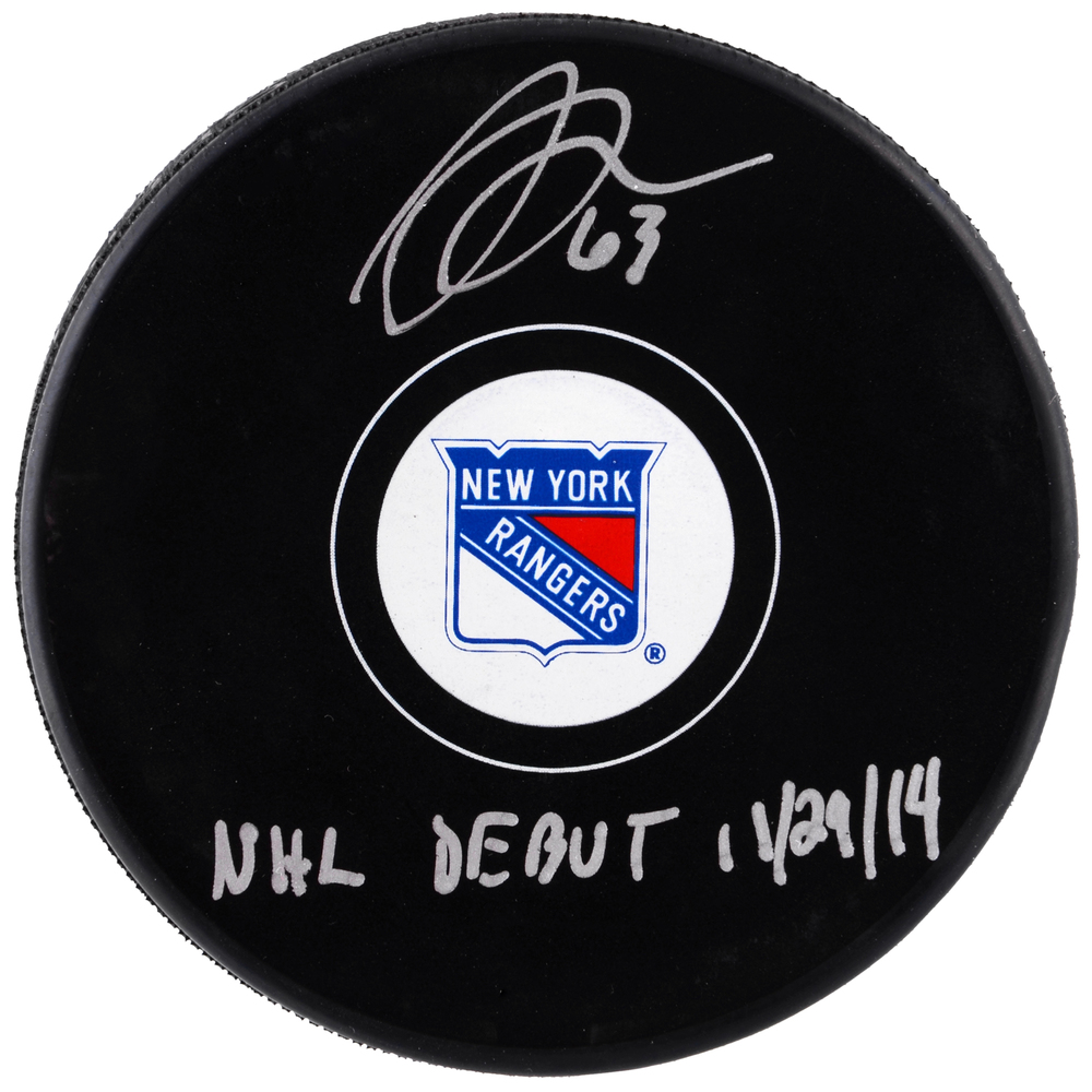 Anthony Duclair New York Rangers Autographed Hockey Puck with NHL Debut 11/29/14 Inscription