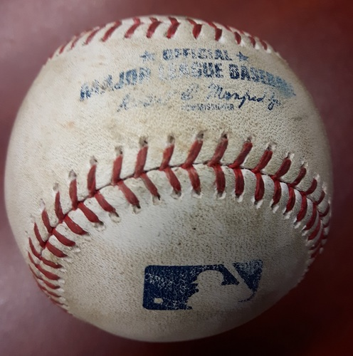 Photo of Authenticated Game Used Baseball - July 8, 2017 vs Houston Astros: Batter - Russell Martin, Pitcher - Chris Devenski, Bottom of 7, Single. Also used for Donaldson Walk.