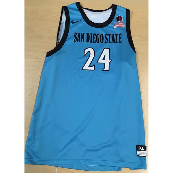Photo of Game-Worn SDSU Nike N7 Native Night Basketball Jersey: Turquoise #24