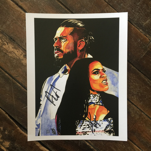 "Photo of Andrade ""Cien"" Almas & Zelina Vega SIGNED 11 x 14 Rob Schamberger Print"