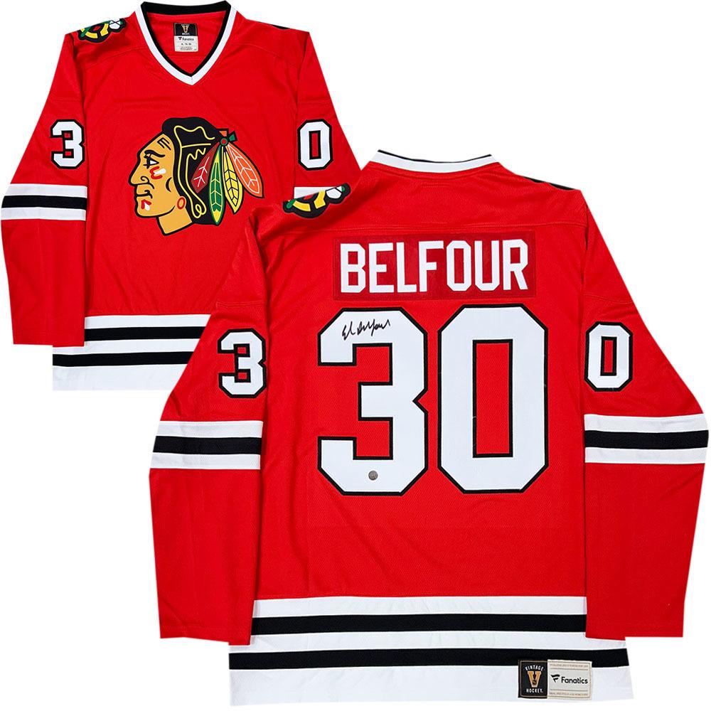 Ed Belfour Autographed Chicago Blackhawks Fanatics Heritage Jersey