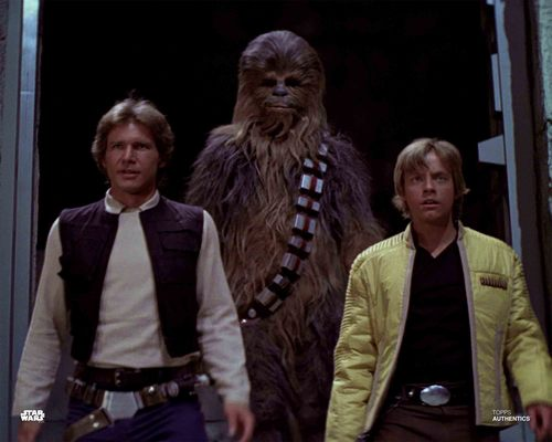 Han Solo, Luke Skywalker and Chewbacca