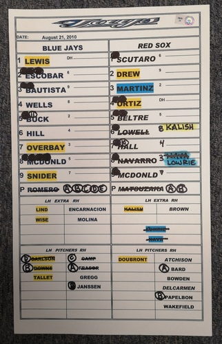 Photo of Authenticated Game Used Lineup Card - August 21, 2010 at BOS: Daisuke Matsuzaka went 8 IP with 8 Ks, Jonathan Papelbon got the Win