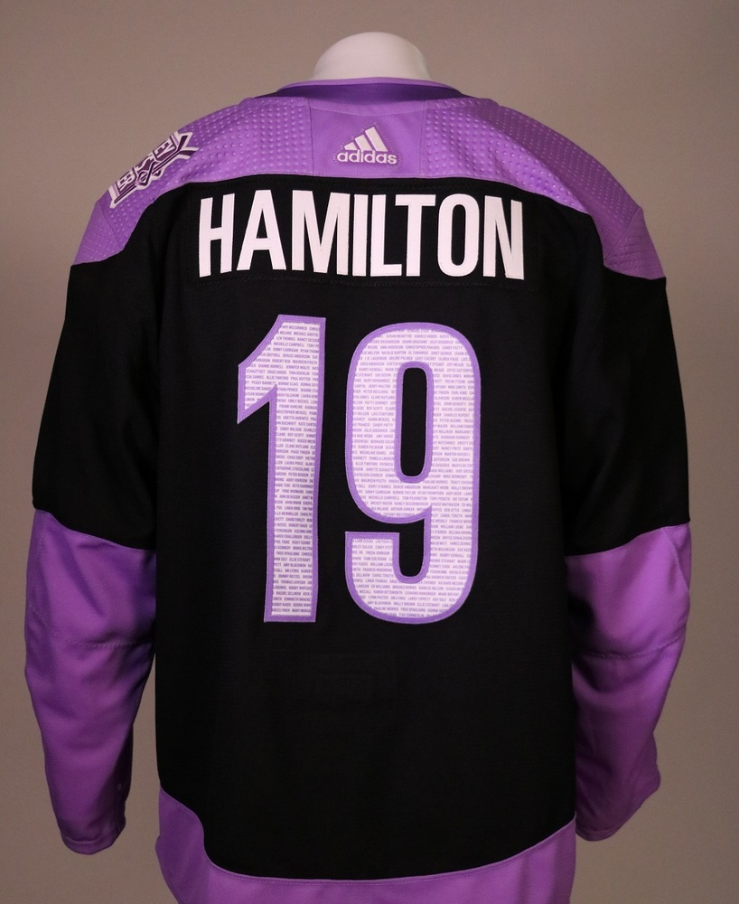 Dougie Hamilton #19 Autographed, Warm Up Worn Hockey Fights Cancer Jersey