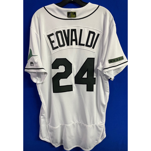 Photo of Team Issued Memorial Day Home Jersey: Nate Eovaldi - May 27, 2018 v BAL