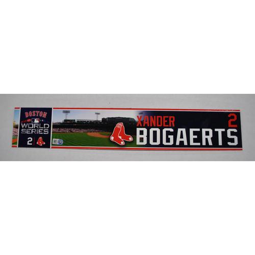 Photo of Game-Used Locker Tag - 2018 World Series Game 2 - BOS vs. LAD - #2 Xander Bogaerts