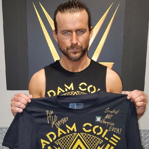 """Photo of Adam Cole SIGNED """"Bay Bay Voltage"""" Authentic T-Shirt."""