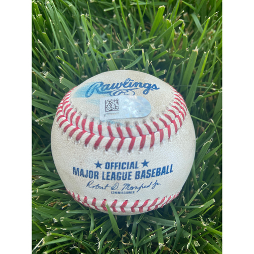 Photo of Cardinals Authentics: Game Used Baseball Pitched by Adam Wainwright to Logan Webb and Lamonte Wade *Webb Strike out, Wade Foul*