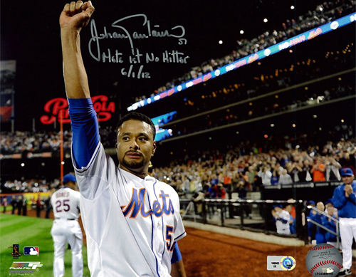 "Photo of Johan Santana - Autographed 8X10 Photo - Inscribed ""Mets 1st No Hitter 6/1/12"""