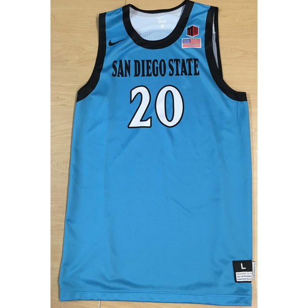 Photo of Game-Worn SDSU Nike N7 Native Night Basketball Jersey: Turquoise #20