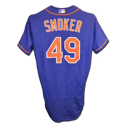 Photo of Josh Smoker #49 - Game Used Blue Alt. Home Jersey - Mets vs. Braves - 9/25/17