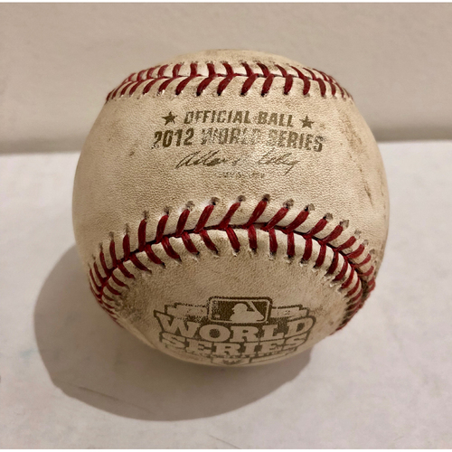 Photo of Game-Used Baseball: 2012 World Series Game 4 - San Francisco Giants at Detroit Tigers - Batter: Brandon Crawford, Pitcher: Max Scherzer - Top of 5, Pitch in the Dirt