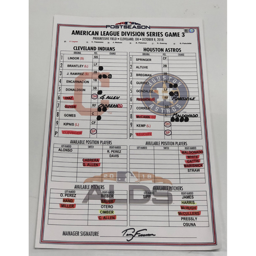 Photo of Game Used Line-Up Card: 2018 American League Division Series vs. Houston Astros, Game 3