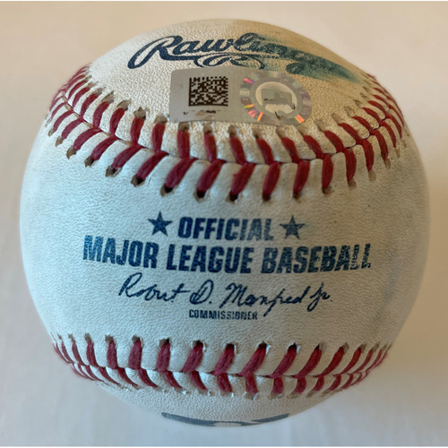 Photo of Michael Brantley Game-Used Ball - Ground Rule Double off of Logan Webb