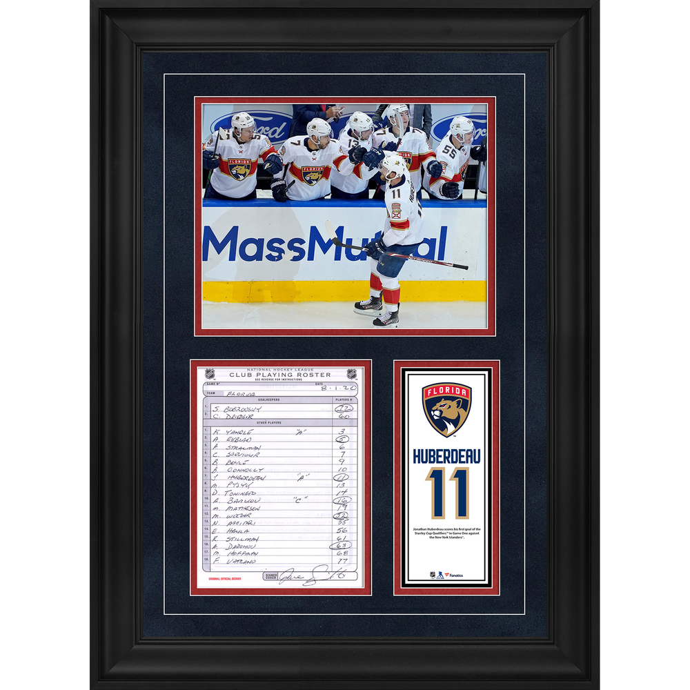 Jonathan Huberdeau Florida Panthers Framed Original Line-Up Card from August 1, 2020 vs. New York Islanders - First Goal of Qualifying Round