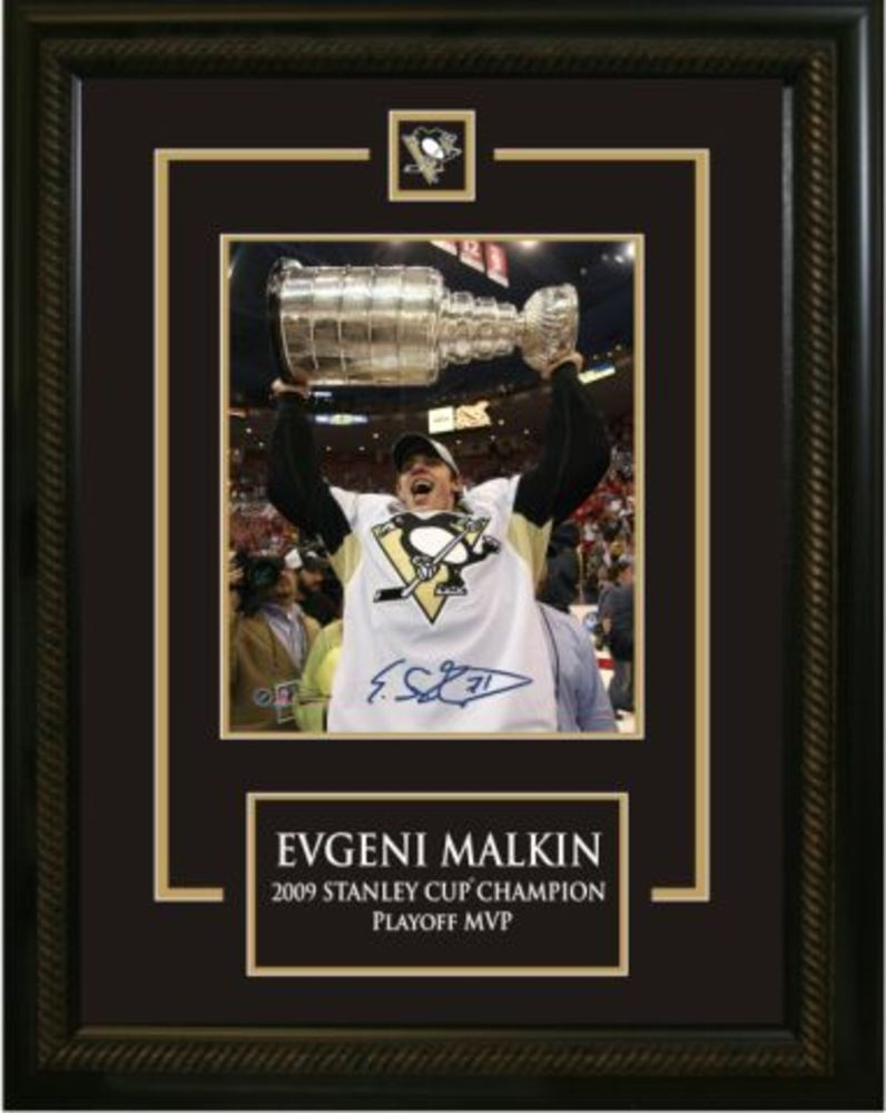 Evgeni Malkin -  Signed & Framed 8x10 Etched Mat - Raising the Cup Pittsburgh Penguins