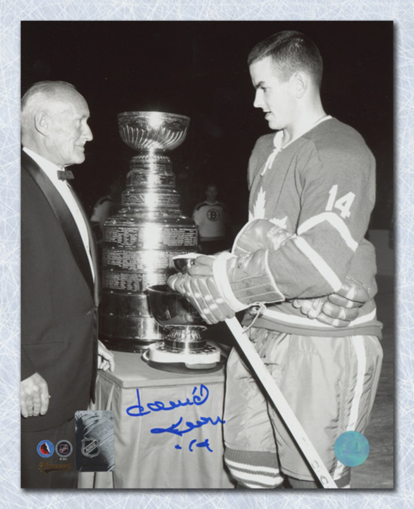 Dave Keon Toronto Maple Leafs Autographed Black & White Stanley Cup 8x10 Photo