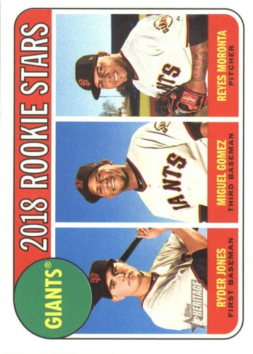 Photo of 2018 Topps Heritage #16 Ryder Jones RC/Reyes Moronta RC/Miguel Gomez RC