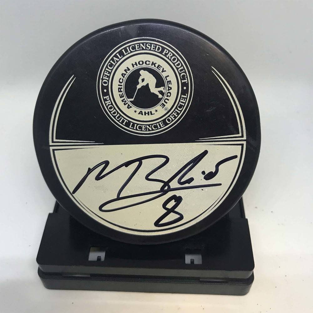 2013 Dunkin' Donuts AHL All-Star Classic Souvenir Puck Signed by #8 Mark Barberio