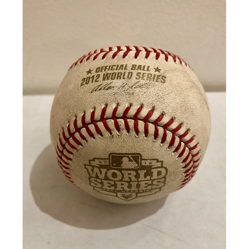Photo of Game-Used Baseball: 2012 World Series Game 1 - Detroit Tigers at San Francisco Giants - Batter: Brandon Crawford, Pitcher: Rick Porcello - Bottom of 8, Foul Back to Screen