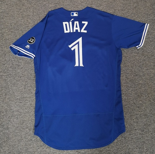 Photo of Authenticated Game Used Jersey - #1 Aledmys Diaz (Aug 11, 18: 1-for-3 with 1 HR, 1 Run and 1 RBI). Size 46.