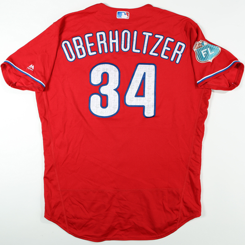 Photo of 2016  Spring Training -  Game-Used Jersey - Brett Oberholtzer (Phillies) - Size 50