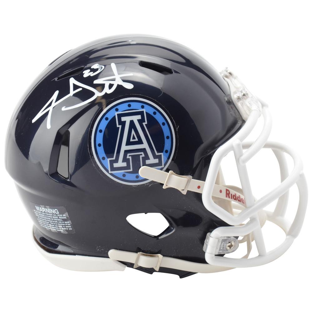 Travis Dermott Toronto Maple Leafs Autographed Toronto Argonauts CFL Mini Helmet
