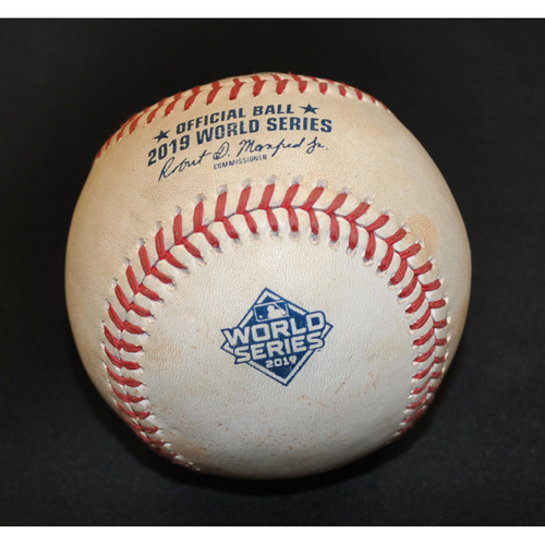 Photo of Game-Used Baseball: 2019 World Series - Game 1: Pitcher: Patrick Corbin, Batter: Carlos Correa (Swinging Strikeout) - Bot 6