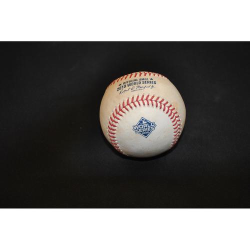 Photo of Game-Used Baseball: 2019 World Series - Game 1: Pitcher: Patrick Corbin, Batter: Carlos Correa (Swinging Strikeout) - Bot 6