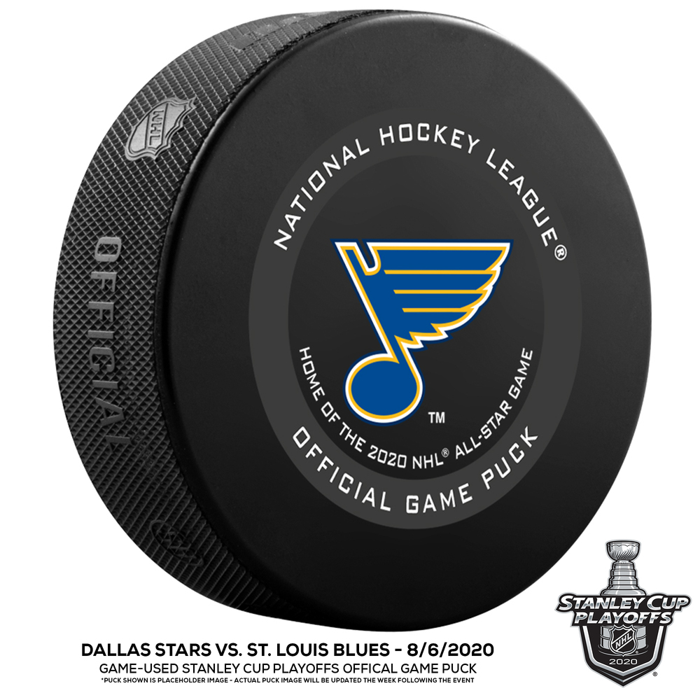 St. Louis Blues vs. Dallas Stars Game-Used Puck from 2020 Stanley Cup Playoffs Round Robin Game on August 9, 2020