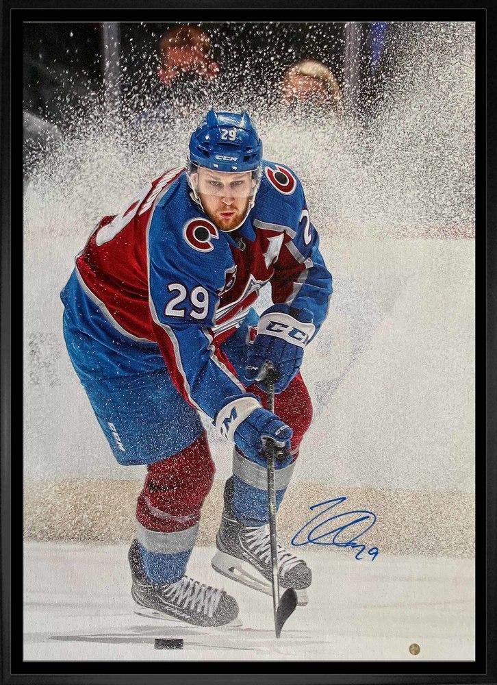 Nathan MacKinnon Colorado Avalanche Signed Framed 20x29 Framed Ice Spray Canvas