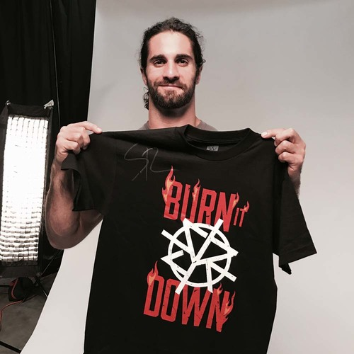 "Photo of Seth Rollins ""Burn It Down"" SIGNED T-Shirt (Size: Medium)"