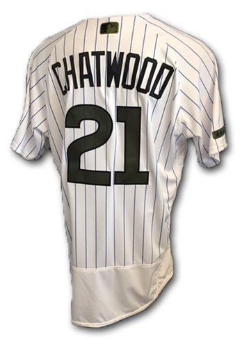 Photo of Tyler Chatwood Team-Issued Memorial Day Jersey -- Giants vs. Cubs -- 5/27/18